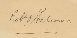 Cut signature of Sir Robert Alexander Falconer. Sir Robert Alexander FALCONER.