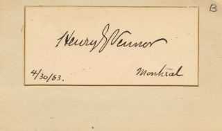 Cut signature of Henry George Vennor. Henry George VENNOR