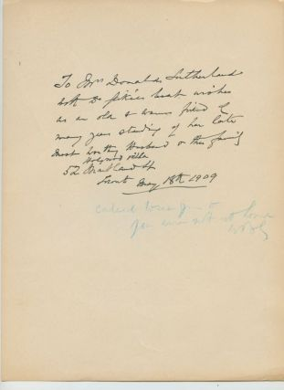 Inscription and signature of Walter Bayne Geike on verso of printed photo with printed signature of him