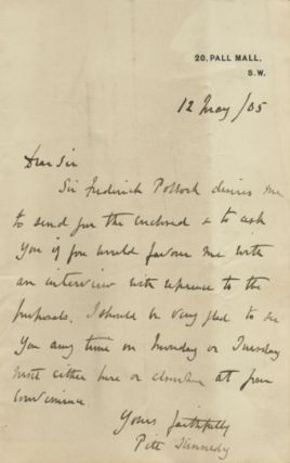 Two autographed Letters Signed (ALS) from Pitt Kennedy, assistant to Sir Frederick Pollock. Pitt...