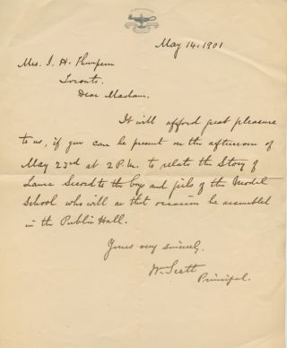 Autographed Letter Signed (ALS) of SCOTT, William to Mrs. I.H. Thompson. William SCOTT