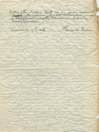 Typed Letter Signed (TLS) of George Williams Brown - draft of a book review