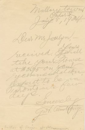 Autographed Letter Signed (ASL) of Geroge Henry Armstrong. George Henry ARMSTRONG.