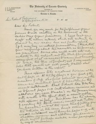 Autographed Letter Signed (ASL) of A.S.P. Wodehouse to Robert Falconer. Arthur Sutherland Pigott WODEHOUSE, Sir Robert Alexander FALCONER.