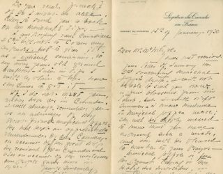 Autographed Signed Letter from Philippe Roy to Marshall Joffre. Dr. Philippe ROY, Marshall...