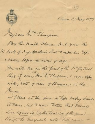 Autographed Signed Letter (ASL) of Captain Alfred Hamlyn Todd. Captain Alfred Hamlyn TODD.