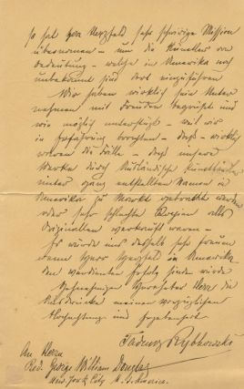 Autograph Signed Letter (ASL) of Tadeusz Rybkowski to Reverend George William Douglas in German. Tadeusz  RYBKOWSKI, Reverend George William DOUGLAS, Polish.