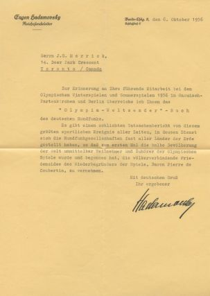Typed Letter Signed (TLS) of Eugen Hadamovsky in German to J.G. Merrick, Toronto. Eugen HADAMOVSKY, James G. B. MERRICK, provenance.