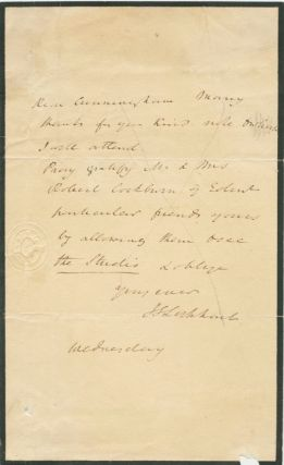 Autographed Signed Letter (ASL) of John Gibson Lockhart to [Alan] Cunningham. John Gibson...