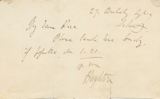 Autographed Signed note (ASN) of Richard Monckton Milnes. Richard Monckton MILNES, 1st Baron...