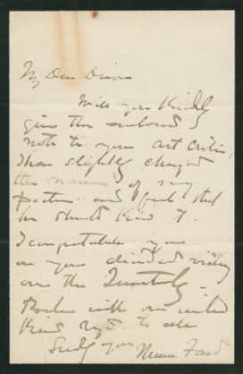Autographed Signed Letter (ASL) of Thomas Faed. Thomas FAED
