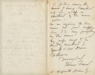 Autographed Signed Letter (ASL) of Thomas Faed