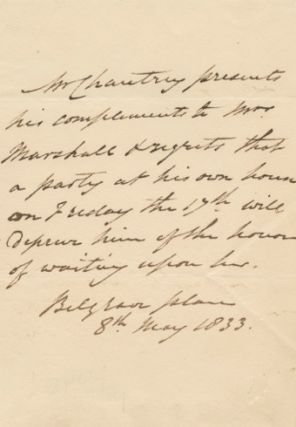 Autographed Signed Letter (ASL) of Sir Francis Legatt Chantrey. Sir Francis Legatt CHANTREY
