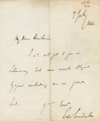 Autographed Signed Letter (ASL) of Edward Cardwell, Viscount Cardwell. Edward CARDWELL, Viscount...
