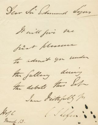Autographed Signed Letter (ASL) of Charles Shaw-Lefevre, 1st Viscount Eversley. Charles...