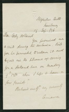 Autographed Signed Letter (ASL) of Henry Howard Molyneux Herbert, 4th Earl of Carnarvon. Henry...