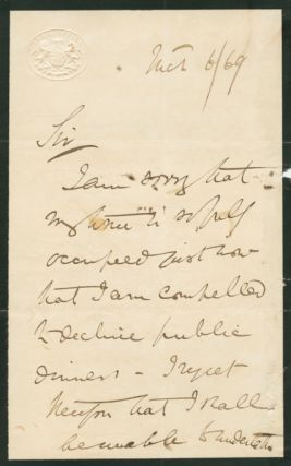Autographed Signed Letter (ASL) of George Campbell, 8th Duke of ARGYLL. George John Douglas CAMPBELL, 8th Duke of Argyll.