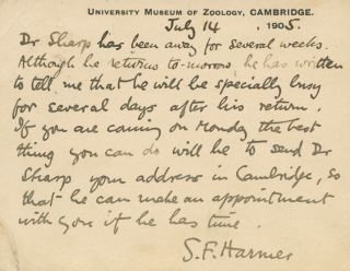 Inscribed signed postcard S.F. (Sidney Frederic) Harmer. Sir Sidney Frederic HARMER, Charles...