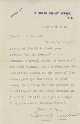 "Typed Signed Letter (TSL) of Samuel Courtauld to Fredrick ""Fritz"" Solomonski. Samuel COURTAULD,..."