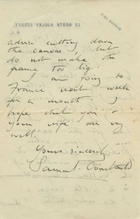 "Autographed Signed Letter (ASL) of Samuel Courtauld to Fredrick ""Fritz"" Solomonski"