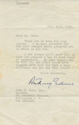 Typed Signed Letter (TSL) marked 'personal' of Anthony Eden, to John E. Hunt. Robert Anthony...