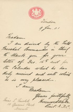 Autograph Signed Letter (ASL) of Major-General Sir Hereward, 13th Baronet Wake to Sara Mickle. Major-General Sir Hereward WAKE, 13th Baronet, Sara MICKLE, Sarah, provenance.