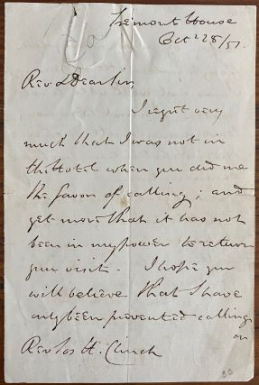 Holograph letter from Edward Feild Bishop of Newfoundland. Rev. Edward FEILD, Rev. William T....