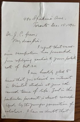 James Frederic McCurdy 2pp. holograph letter. J. F. MCCURDY, James Frederic