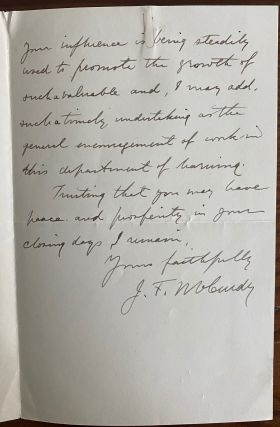 James Frederic McCurdy 2pp. holograph letter
