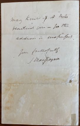 """John MacGregor holograph letter relating to research on his first book """"A Thousand Miles in the Rob Roy Canoe"""""""