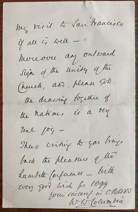 Rev. William Wilcox Perrin, second Bishop of [British] Columbia, 4pp. holograph letter