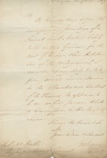 Covering Letter from Dalhousie: 15th Sept. 1819 Lt General Earl of Dalhousie. George RAMSAY, 9th...