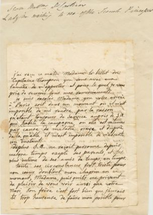 Hand-written note in French from Mise de Castéras. Mise DE CASTÉRAS