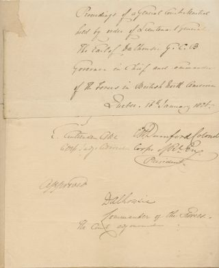 Partial General Court Martial document signed Lieutenant General The Earl Dalhousie. George...