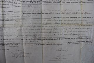 Canada Company Land Grant to William Eyres of the Township of Manvers in the County of Durham Newcastle for 100 acres