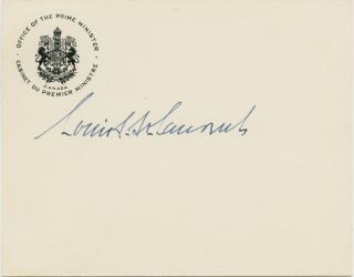 "Louis St. Laurent ""in-office"" signature on Prime Minister office card. Louis Stephen ST. LAURENT"