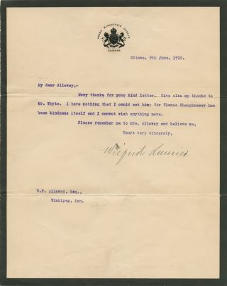 "Wilfrid Laurier ""in office"" 1910 typed letter signed. Sir Wilfrid LAURIER"