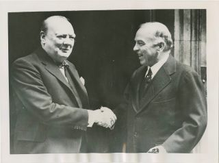 William Lyon MacKenzie King with Winston Churchill press photograph. William Lyon MacKenzie KING,...
