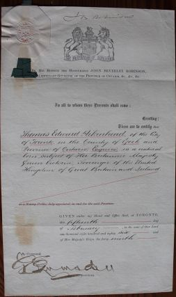Thomas Edward Aikenhead legal / reference document from Lieutenant Governor of Ontario John...