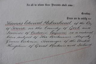 Thomas Edward Aikenhead legal / reference document from Lieutenant Governor of Ontario John Beverley Robinson