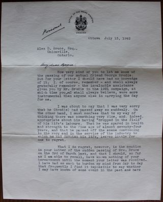 "2 page [personal] ""in office"" Letter from Prime Minister W.L. Mackenzie King to Alex. D. Bruce...."