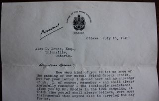 "2 page [personal] ""in office"" Letter from Prime Minister W.L. Mackenzie King to Alex. D. Bruce"