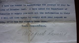 "Wilfrid Laurier ""in office"" 1906 typed letter signed"