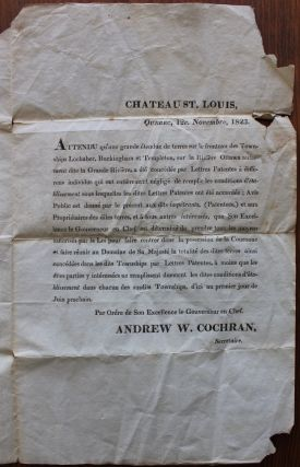 Printed 1823 Executive Council bilingual broadside escheated proclamation for 3 townships in Quebec