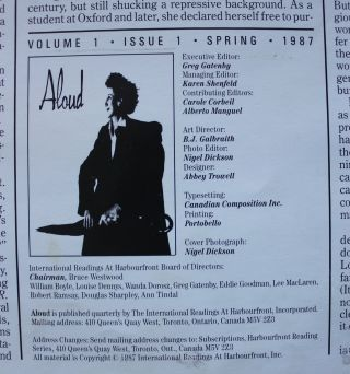 ALOUD - A Literary Quarterly- Volume 1, Issue 1, Spring 1987 [layout mock-up]