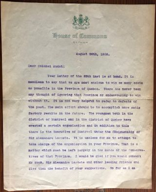 An Important TLS 1908 R. L. Borden Political Quebec Strategy Letter. Sir Robert Laird BORDEN,...
