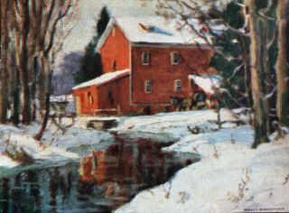 "Christmas Card Print of Bruce's Mill titled ""The Red Mill"" after a Manly MacDonald painting"