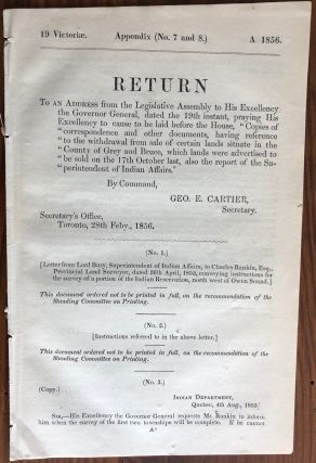 Appendix (No. 7 and 8) RETURN: To an address from the Legislature Assembly to His Excellency The...