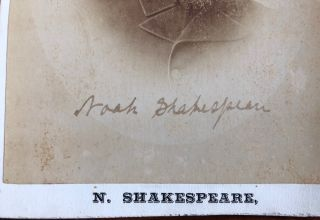 Noah Shakespeare Signed Cabinet Card