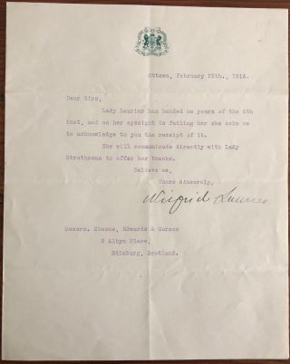 Typed Letter Wilfrid Laurier signed on House of Commons letterhead, February 25th, 1914, to...